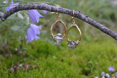 $14.00 Gold wired Teardrop Earrings with Crystal cut by JanysJewelryBox