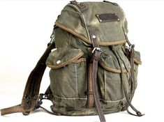 Mens Vintage Canvas Hiking Travel Military Backpacks Messenger