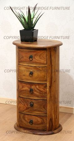Solid Indian Wood Rosewood Sheesham 5 Drawers Oval Drum Chest Beside Jali Range In Home
