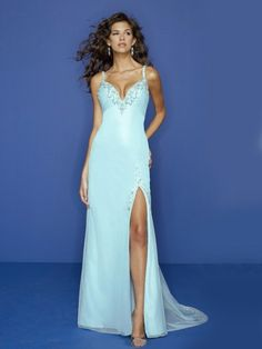 US $129.99 | (FITS015217 )2012 Spring Style Sheath / Column Spaghetti Straps Beading Sleeveless Floor-length Elastic Woven Satin Blue Prom Dress / Evening Dress