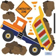 Etiqueta de la pared de un camión grande con rocas y una zona de construcción firme. Coordenadas con nuestros pequeños camiones, automóviles y vehículos de EMS y puede colocarse sobre la cama o donde quieras el foco ser. Simplemente peel & stick, nuestras etiquetas de la pared reutilizables son ideales para apartamentos y habitaciones de niños ya que no hay ningún daño a las paredes! Qué divertido!  Disfrutar de la etiqueta de la pared de nuestra fabulosa tela adhesiva en un colorido camión…