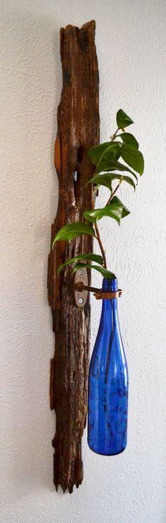 Pecky cypress & wine bottle wall vase