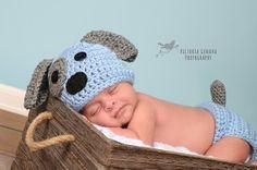 Crochet Newborn baby boy Puppy Hat and Diaper Cover, PHOTO PROP, Puppy hat andâ?¦
