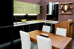 Pictures of Kitchens - Modern - Two-Tone Kitchen Cabinets Black Kitchens, Cool Kitchens, Modern Kitchens, Kitchen Black, Dream Kitchens, Kitchen Layout, Kitchen Design, Two Tone Kitchen Cabinets, Kitchen Table Chairs