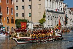 The ceremonial Bucintoro barge rowed by 18 men
