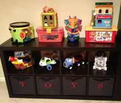 Toys storage idea...this is adorable but would never stay looking so clean....as soon as my Seth seen it! LOL
