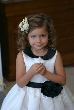 flower girl hair- love the simple curls with the side pinned back (with flower crowns).