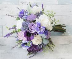 A Freshly Gathered look bouquet using Succulents, Purple Anemones and Roses, Lilac Flowers and Lavender Sprays Silk Wedding Bouquet. We can make this bouquet from a 6 Wedding Flower Guide, Purple Wedding Bouquets, Prom Flowers, Lilac Flowers, Flower Bouquet Wedding, Floral Wedding, Purple Lilac, Burgundy Wedding, Wedding Ideas