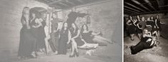 Portrait photography, hen party photoshoot, bridal party, black dresses, ladies group, black and white,