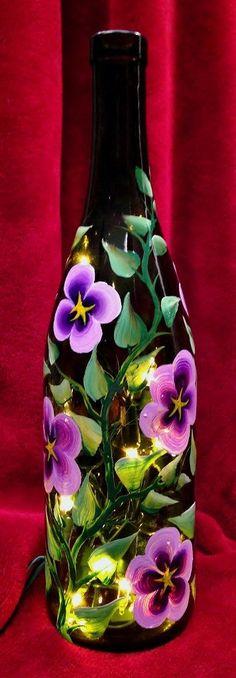 Purple Columbine Hand Painted on Wine Bottle by LuminationCreation, $38.00 Empty Wine Bottles, Lighted Wine Bottles, Bottle Lights, Bottles And Jars, Painted Bottles, Bottle Lamps, Recycled Bottles, Diy Bottle, Wine Bottle Crafts