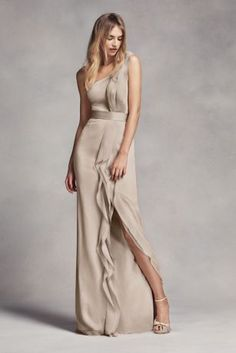 One-Shoulder Long Bridesmaid Dress with Ruffles VW360274