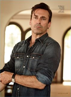 Jon Hamm wears a Jean Shop denim shirt with a Cartier watch.
