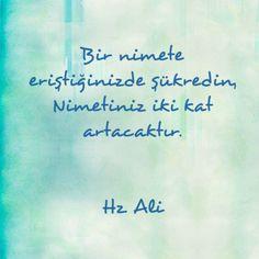 Bir nimete eriştiğinizde şükredin. Nimetiniz iki kat artacaktır...Hz. Ali