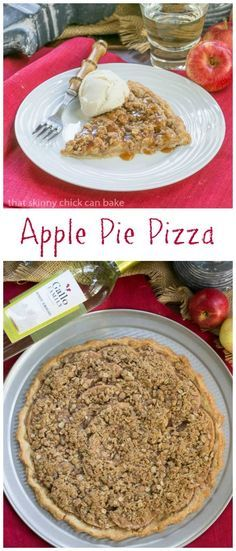 Apple Pie Pizza | A dessert pizza made with a pastry crust, spiced apples, streusel and drizzled with caramel #SundaySupper #GalloFamily