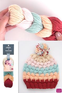 How to unwind Caron X Pantone Yarn links to knit a Bubble Hat by Studio Knit! Learn how to Knit this super cute Bubble Stitch Beanie Hat with free Knitting Pattern and video tutorial by Studio Knit. Knitted Hats Kids, Baby Hats Knitting, Knitting For Kids, Easy Knitting, Loom Knitting, Baby Hat Knitting Pattern, Knit Hats, Knitting Designs, Knitting Projects