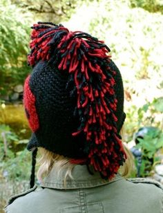 Yarnspirations.com - Caron Mohawk Hat  (This would look cute done with the fringe done in 4th doctor stripes)