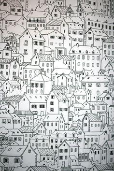 papier peint ville/colline