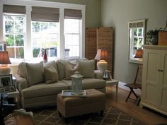 living room with sage green paint colors - maybe a wall in the