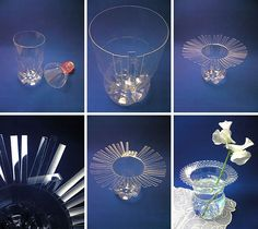 florero trasparente con botellas