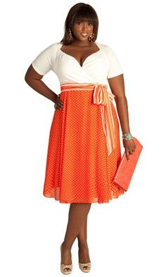 Amazon.com: IGIGI by Yuliya Raquel Plus Size Rita Vintage Polka Dot Dress in Hot Coral: Yuliya Raquel: Clothing