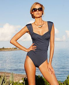 Getting this one with the sale this weekend: Badgley Mischka Swimsuit, Surplice Over The Shoulder Draped Front One Piece - Womens Swim - Macy's