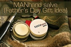 How to make a salve for men - MANhand Salve. Infused oi, cocnut oil, and beeswax --- essential oils optional. (If I use peppermint for my guy!) -- LOVE this idea. Diy Father's Day Gifts, Father's Day Diy, Fathers Day Gifts, Homemade Beauty, Homemade Gifts, Diy Beauty, Homemade Products, Look Dark, Diy Lotion