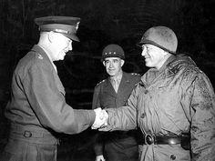U.S. generals Dwight D. Eisenhower, Omar Bradley and George Patton in Bastogne, Belgium.