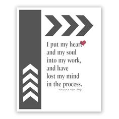 My HEART and SOUL into Work, Quote Art Print, Vincent Van Gogh, Inspirational Quotes Art, Office Art Decor, Dorm Room Decor, 8x10 on Etsy, $20.00