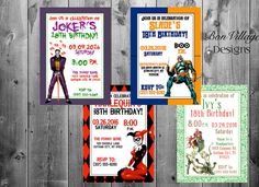 DC Comics Villains Birthday Invitations by BonVillageDesigns