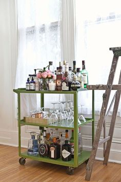 Having a well stocked bar cart, like Elsie of A Beautiful Mess does, makes entertaining so much easier!