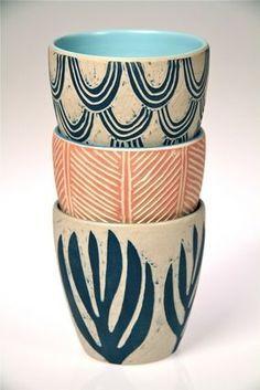 color sgraffito Ceramic Beakers by Dimity Kidston