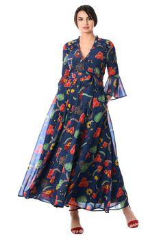 I this Ruffle trim floral print georgette maxi dress from eShakti Casual Wear, Casual Dresses, Long Dresses, Maxi Dresses, Womens Maxi Skirts, Ruffle Trim, Ruffles, Frocks, Dresses Online