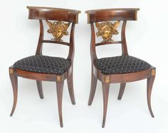 Set of Six Italian (Lucca) Neoclassical Carved Side Chairs, circa 1810-1820 | From a unique collection of antique and modern side chairs at https://www.1stdibs.com/furniture/seating/side-chairs/