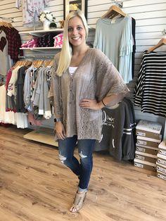 (533)Mocha Crochet Front Kimono Style Top