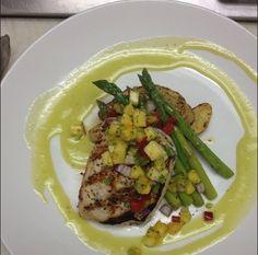 Grilled swordfish, herb roasted potatoes, asparagus, citrus vin ...