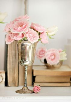 Simple pink roses and silver goblet floral arrangement. Classic and just plain pretty! Fresh Flowers, Pretty In Pink, Pink Flowers, Beautiful Flowers, Flowers Bunch, Flowers Vase, Metal Flowers, Exotic Flowers, Yellow Roses
