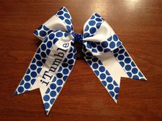 "iTumble 3"" Royal Blue Polka Dot Cheer Bow"