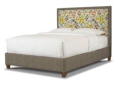 Bassett Custom upholstered bed: TEM  Queen Rectangular Bed, 1994-K59FF TOP & BACK FABRIC  Woven, Graphite, 1349-1 INSERT FABRIC  Seaglass, 4230-3 FINISH  Tea Stain, TS $1539