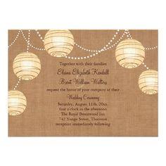 rustic country wedding burlap hanging lights wedding invite invitation paper lanterns