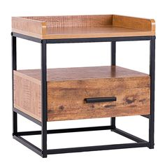 End Side Sofa Table Metal Nightstand Storage Display Bedroom with 1 Drawer Metal Furniture, Sofa Furniture, Accent Furniture, Living Room Furniture, Simple Furniture, Furniture Market, Apartment Furniture, Vintage Furniture, Metal Nightstand