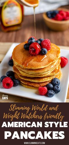 These filling and delicious fluffy American Style Pancakes will be a regular feature on your Breakfast menu and are perfect for those following Slimming World or Weight Watchers. Breakfast Menu, Perfect Breakfast, Breakfast Recipes, Breakfast Ideas, Slimming World Desserts, Slimming World Breakfast, New Recipes, Cooking Recipes, Healthy Recipes