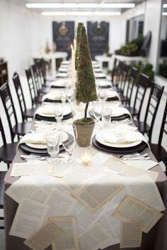 Christmas table settings ideas, 2013 Christmas table decor, green Christmas Potted tree, used paper decor