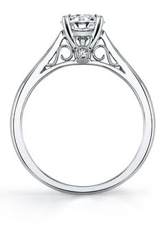 Modern Round Center Peekaboo Bezel Diamond Engagement Ring by Sylvie Collection // More from Sylvie Collection: http://www.theknot.com/gallery/wedding-rings/Sylvie Collection