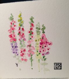 Foxglove Watercolor card by gardenblooms on Etsy, $3.50
