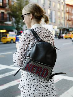 NYFW Street Style Spring 2016 - leather Nerd backpack | allure.com