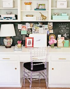 Your home office should be a calm and organized space where you can focus and be inspired. Be imaginative and think outside the box. Organized Office, Office Organization, Office Spaces, Home Office, Office Decor, Girl Boss, Little Houses, Bar Cart, Home Offices