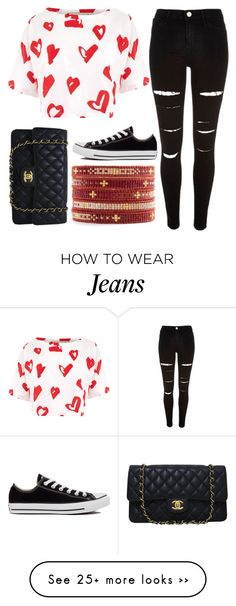"""""""""""Black jeans, white tee, black converse"""" ❤️"""" by kristen-gregory-sexy-sports-babe on Polyvore featuring River Island, Être Cécile, Converse, Chanel, Chan Luu and claudiasfashionsets"""