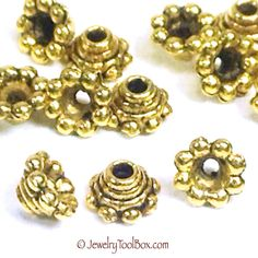 SALE ! Pewter Flower Gold Bead Caps, Vintage Look, Antique Gold,  3x6mm, Fits 4mm & Larger Beads, Lots Size 100, #1056