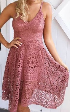 #summer #clothing #trends | Lace + Dusty Rose Dress
