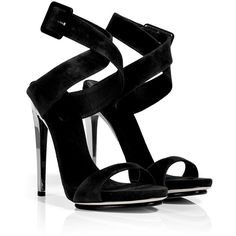 GIUSEPPE ZANOTTI Black Suede Sandals With Metallic Heel ($650) ❤ liked on Polyvore